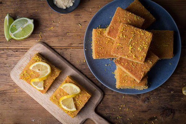 slices of lemon and lime polenta cake